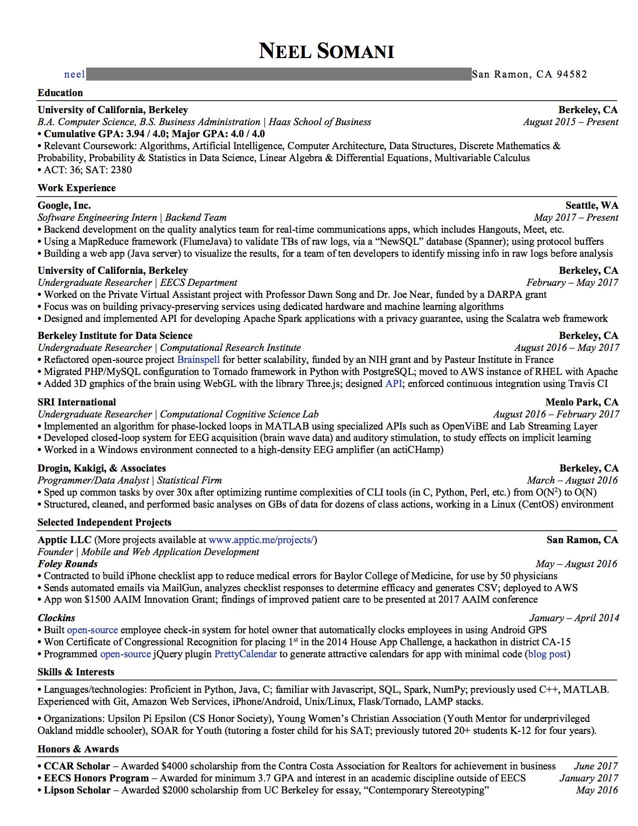 this resume got me internship offers from google nsa more