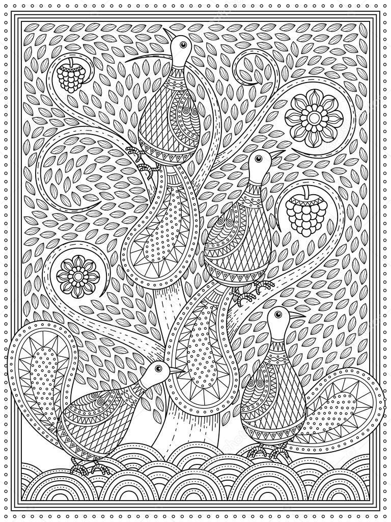Página elegante adulto para colorear — Ilustración de stock ...