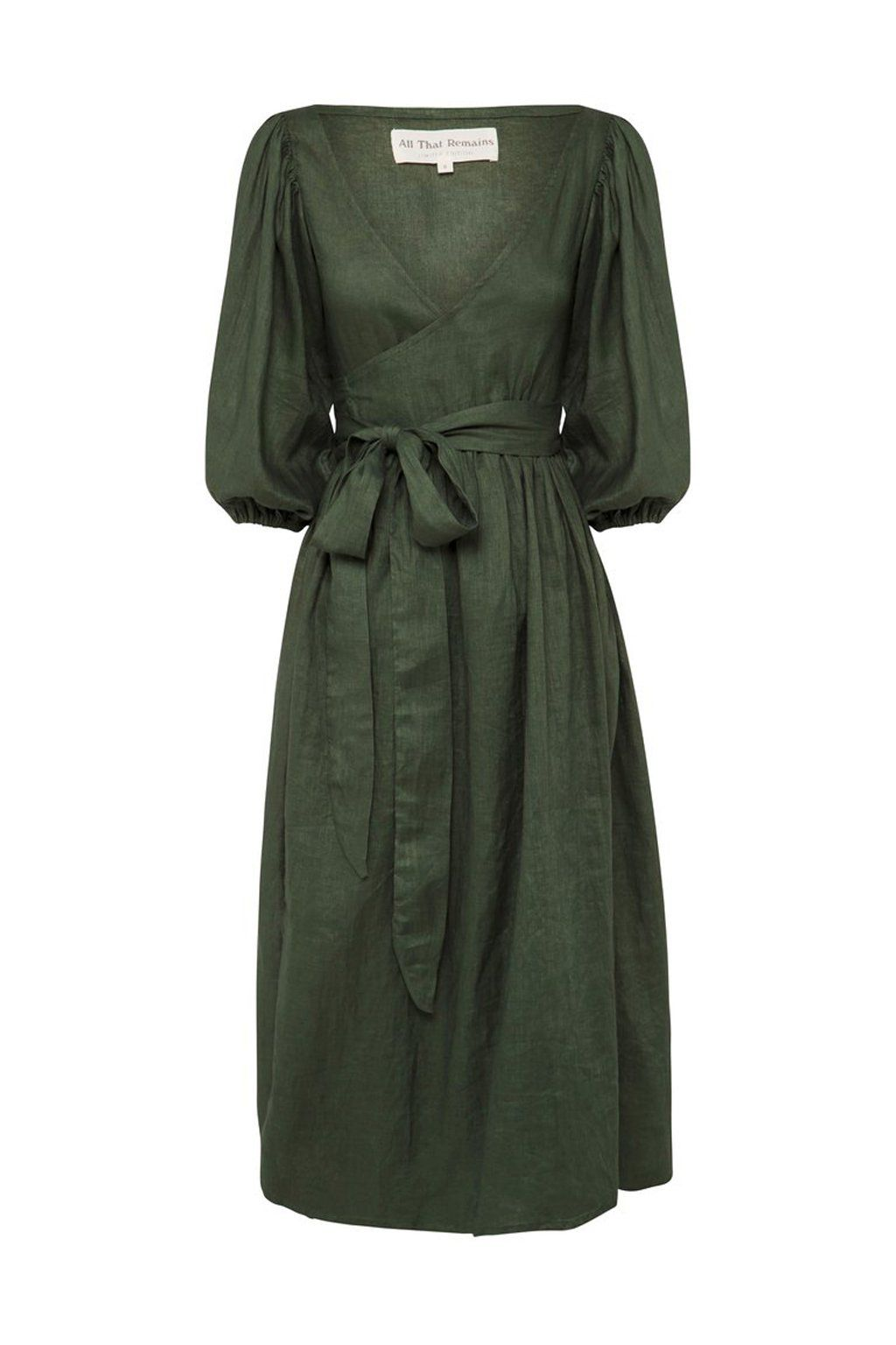 Truly the prefect wrap dress. Effortless and elegant, the Lia features an ideal midi length, deep V neckline, billowy oversized balloon sleeves and an exaggerated waist tie. Each dress is individually handmade by artisans, making yours entirely special and unique. - Fits true to size - Model wears size S - Sizing measurements: XS (AUS 6): Bust - 32