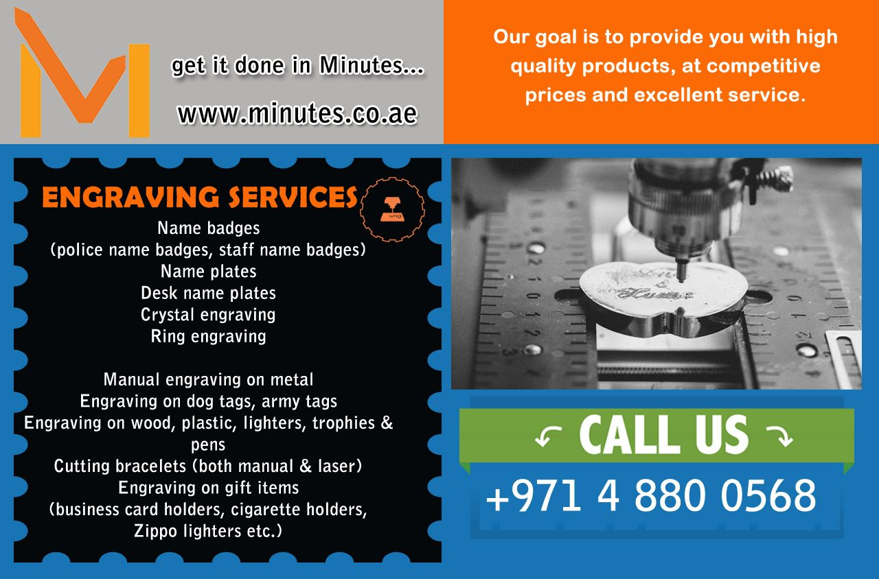 Minutes is offering a much wider range of Engraving services in Dubai & Sharjah UAE, such as name badges, name plates, crystal engraving, ring engraving, etc. visit www.minutes.co.ae
