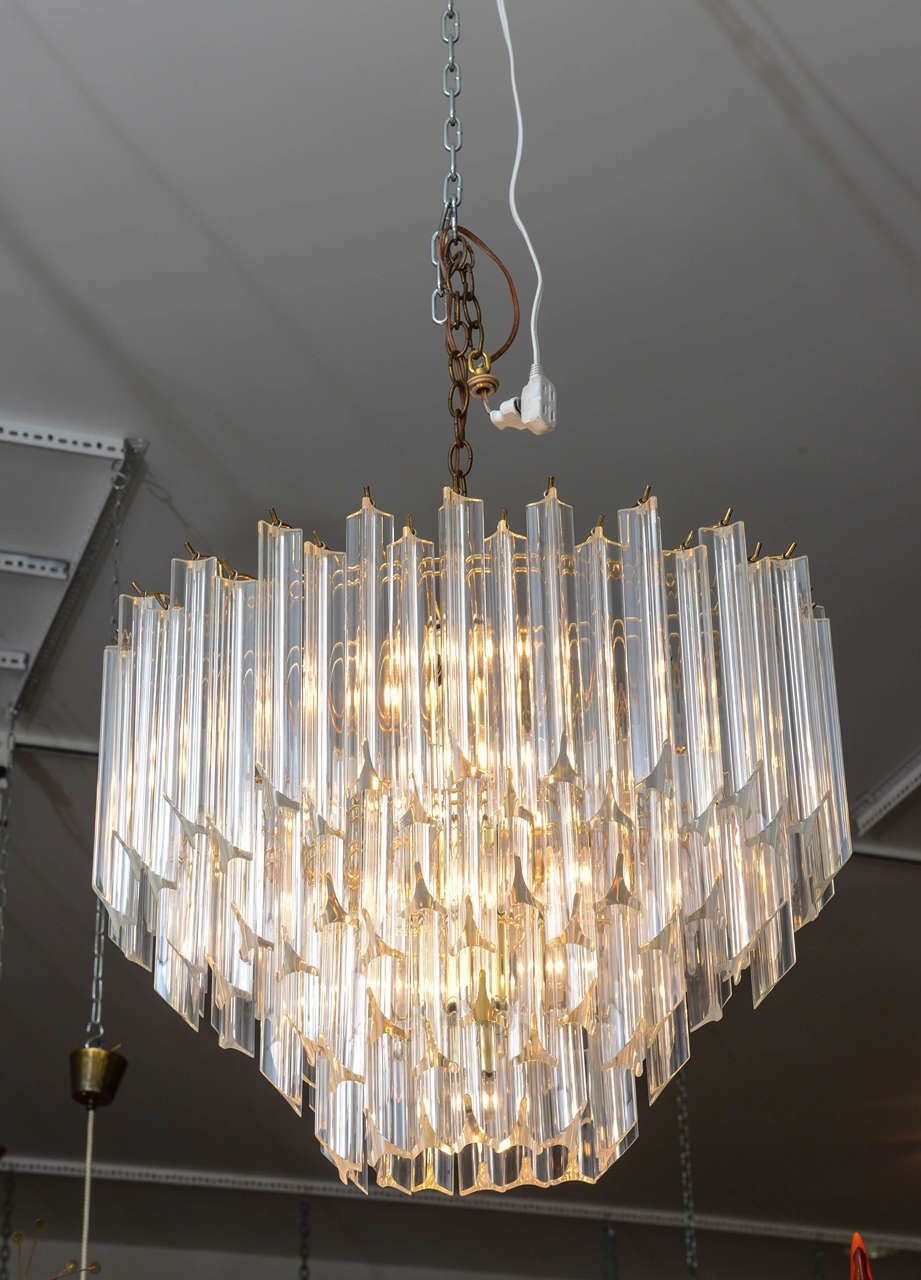 Vintage Oval Shaped Lucite Chandelier From A Unique Collection
