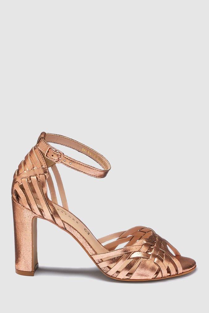 Womens Next Rose Gold High Weave Sandals Metallic   Woven