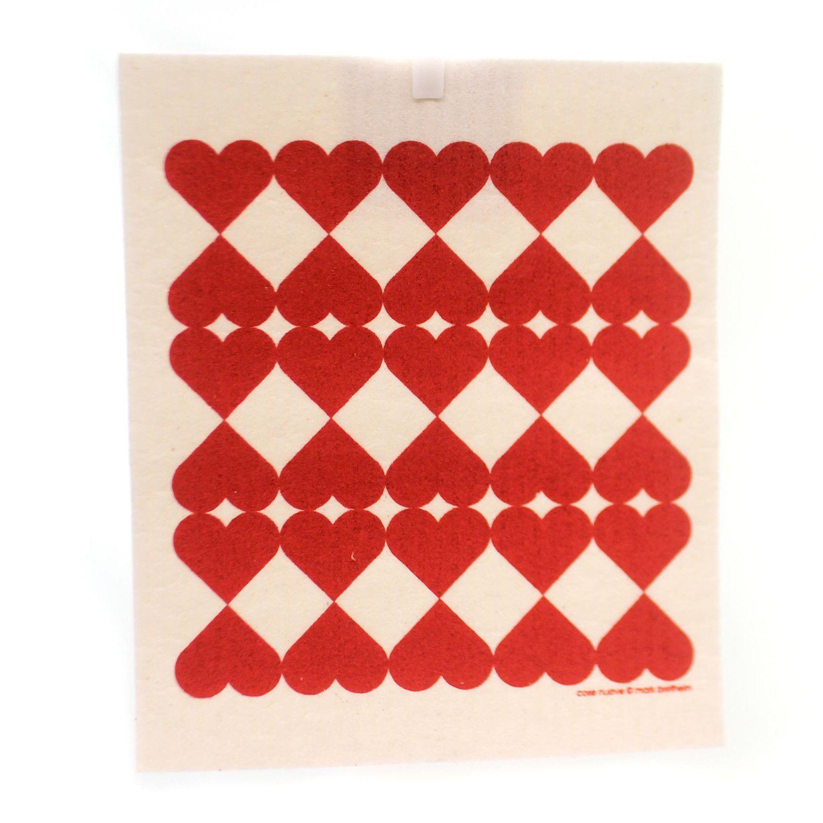 Swedish Dish Cloth Harlequin Hearts Decorative Towel