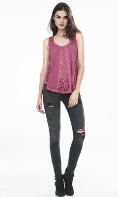 cold dyed pieced lace tank from EXPRESS