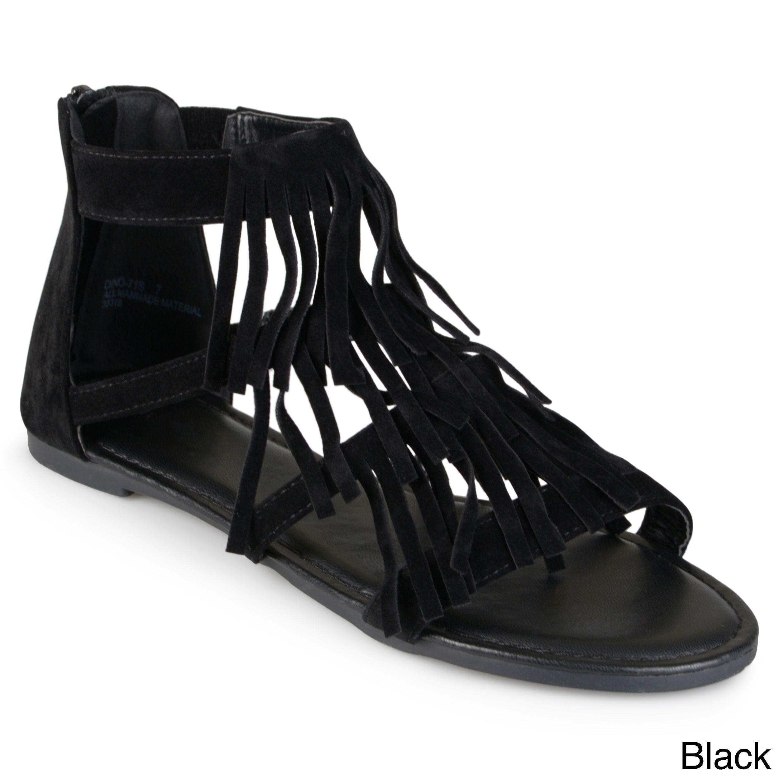 ea8d66e3e51c Journee Collection Women s  Zana  Fringed Flat Gladiator Sandals ...