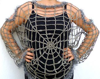 Spider Web Blouse, Halloween Spider web Costume Plus Size  Goth, Punk, Grunge, Hippie Clothing,  Grey Cobweb Crochet Sweater, Mesh Pullover