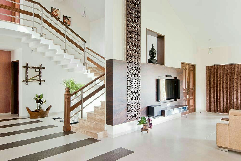 Bungalow kerala house design living area interior photos hall tv also room in pinterest staircase rh