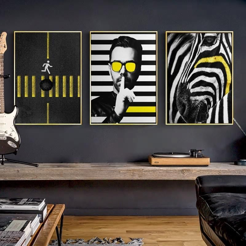 Funky Gallery Wall Trio Of Black White Yellow Pop Art Prints Funky Wall Art Pop Art Print Eclectic Gallery Wall