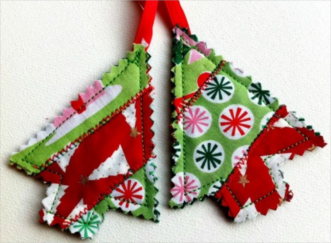 Easy holiday ornaments made from fabric scraps scrap felting and