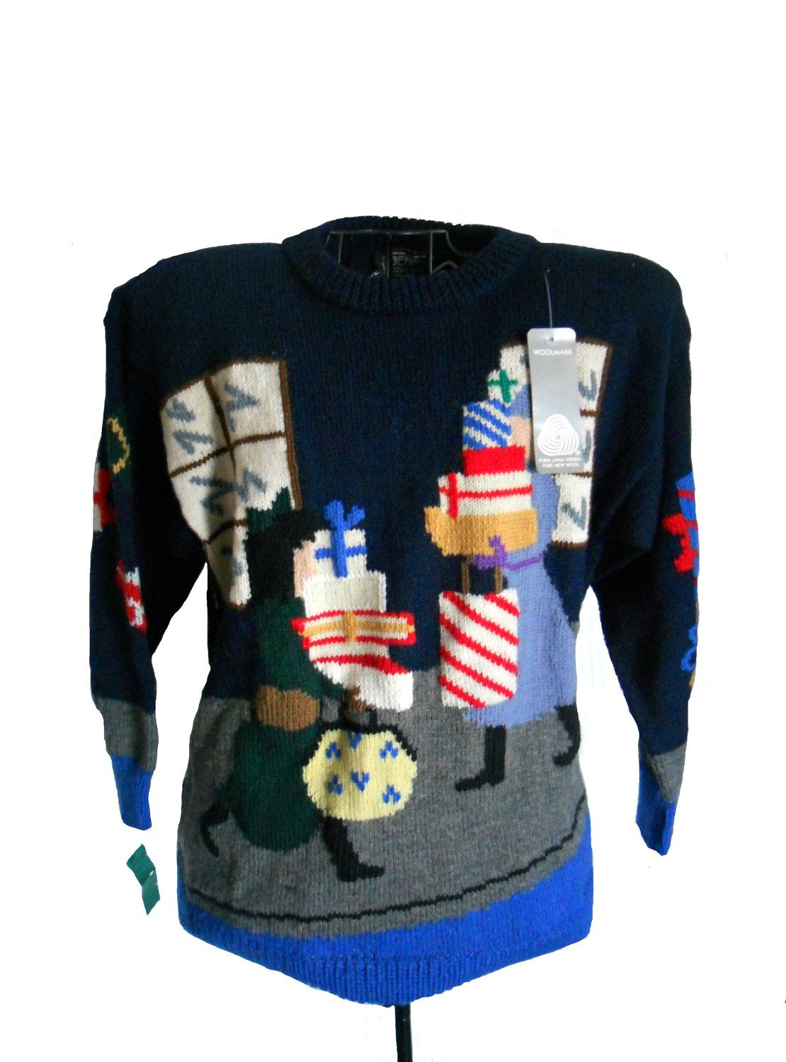 Vintage Ugly Christmas Sweater - Oversized Berek Brand - Navy and ...