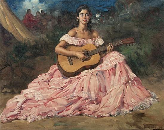 Francisco Rodriguez Sanchez Clement Spanish 1893 1968 S Flamenco Guitar Painting Art Masters