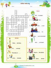 Action Verbs Crossword - Present progressive worksheet for ESL ...