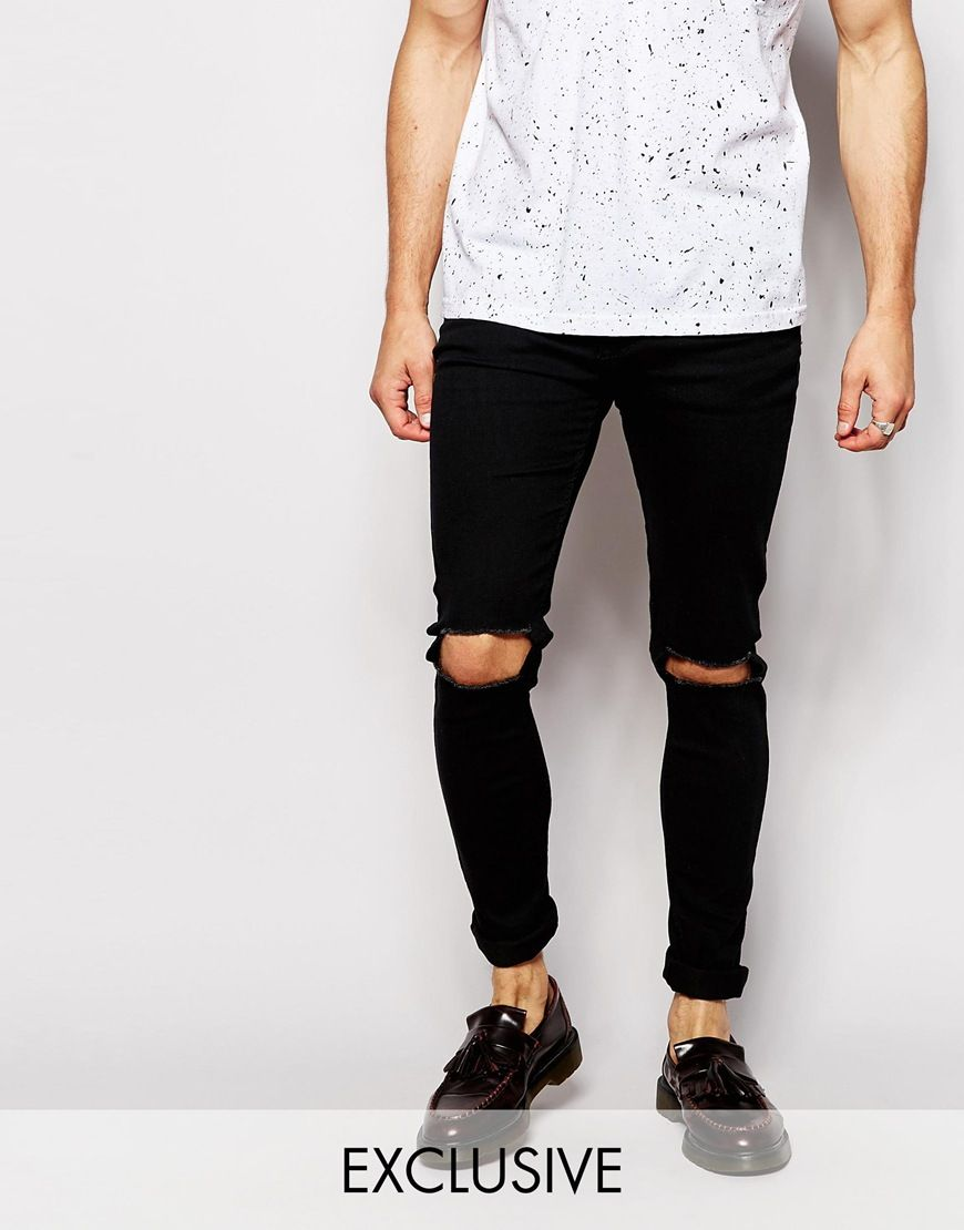 767d36fef16 Skinny Black Jeans With Knee Rips