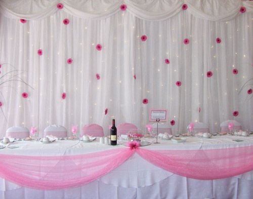 Tulle Lights Flowers Wedding Backdrop