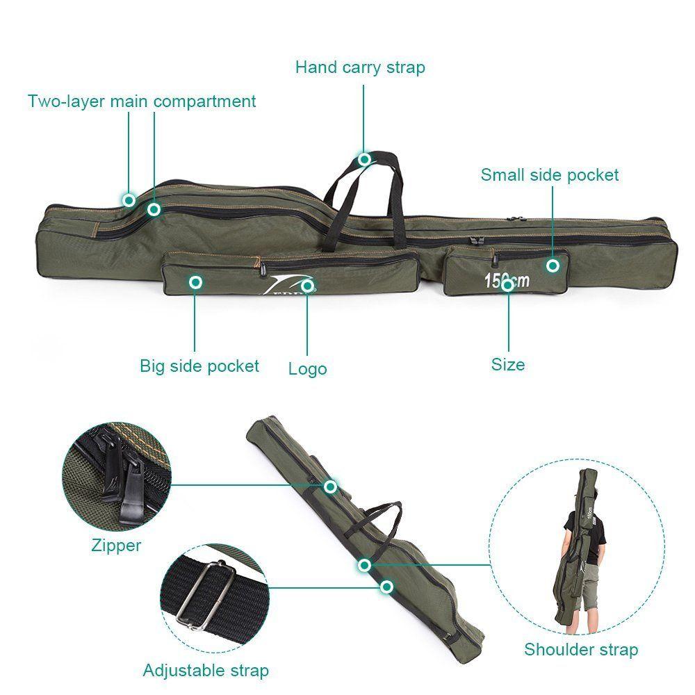Docooler Folding Fishing Rod Bag Portable Fishing Pole Tools Storage Case Canvas Fishing Gear Tackle