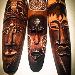 African Mask Wall Hanging Decor Good Luck Protection Tiki Tribal Wood Mask Owl Mask Large 20 Oma Brand African Masks Owl Mask African