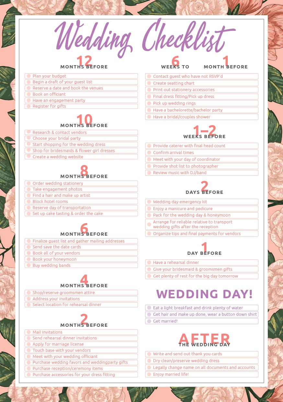 Wedding Checklist Wedding planning checklist printable
