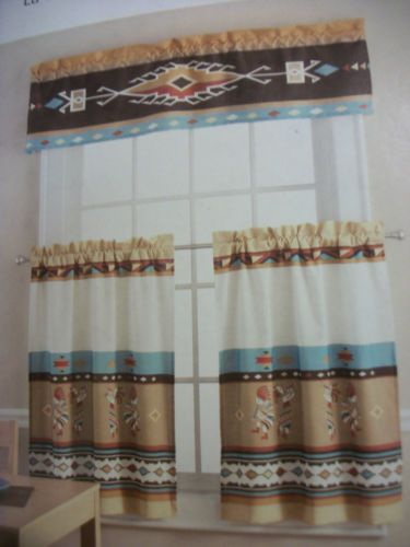 Southwest Western Kokopelli 3pc Window Curtain Set Brand New