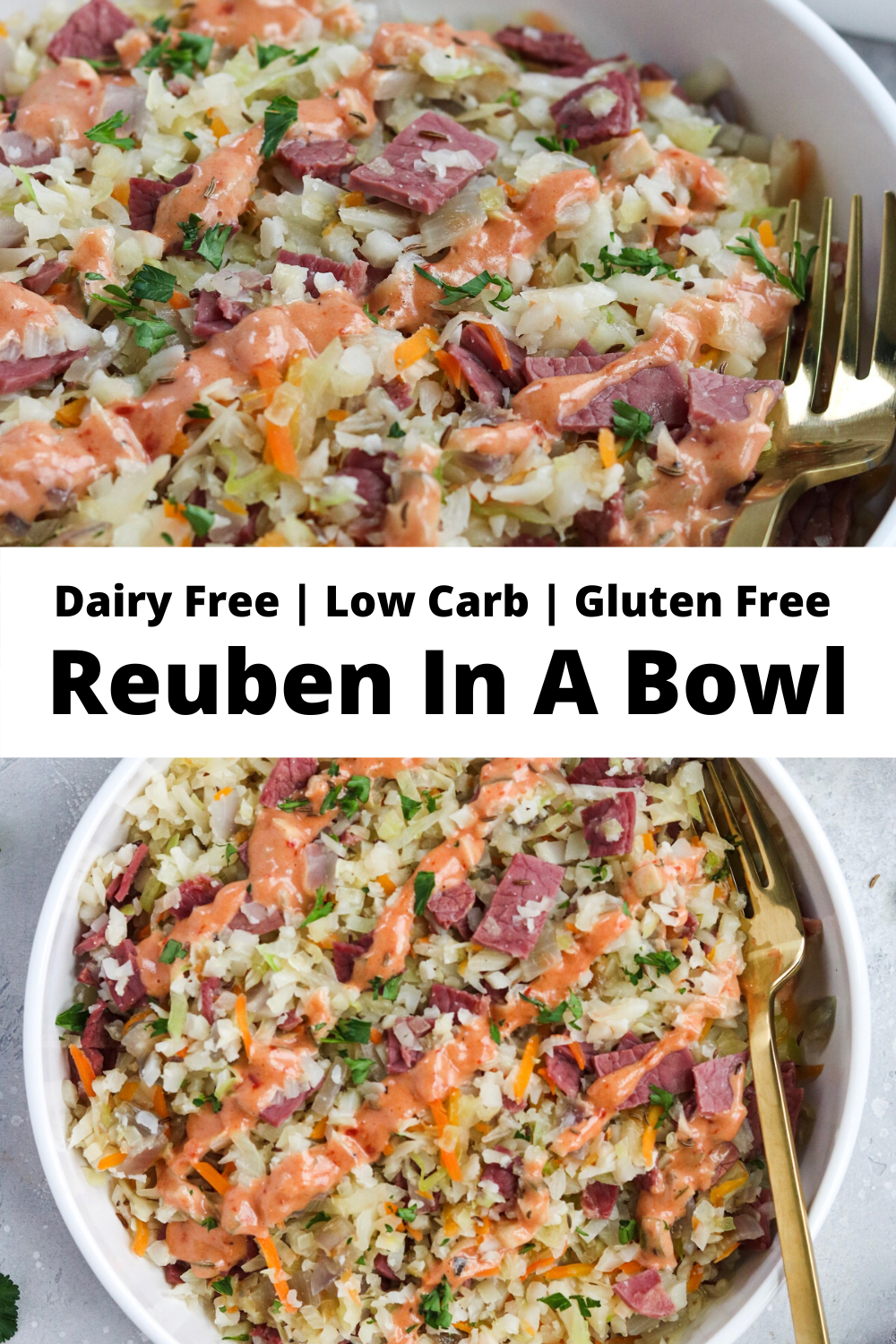 This Reuben in a Bowl recipe is a low carb, gluten free, dairy free, and grain free alternative to the classic American deli sandwich! Perfect for St. Patrick's Day! #keto #ketorecipes #paleorecipes #reuben #reubeninabowl #stpattysday #stpaddysday #stpatricksday #easyrecipes #healthyrecipes #glutenfree #dairyfree #grainfree #lowcarb