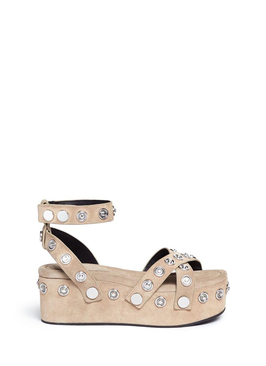 ALEXANDER WANG 'Sandrah' Snap Stud Suede Platform Sandals. #alexanderwang #shoes #sandals