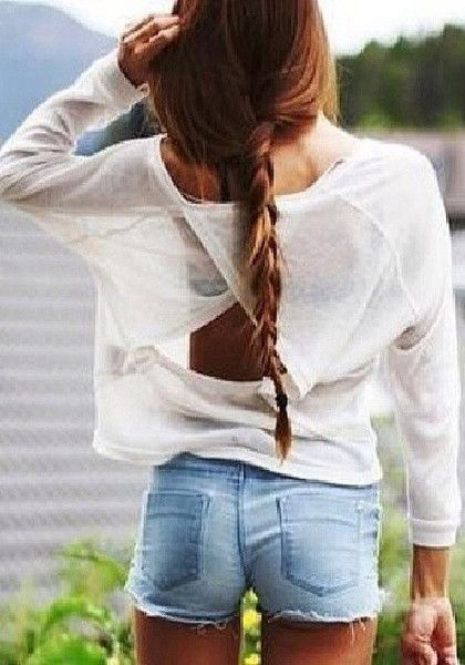 Cutout Back Long sleeved Shirts – White