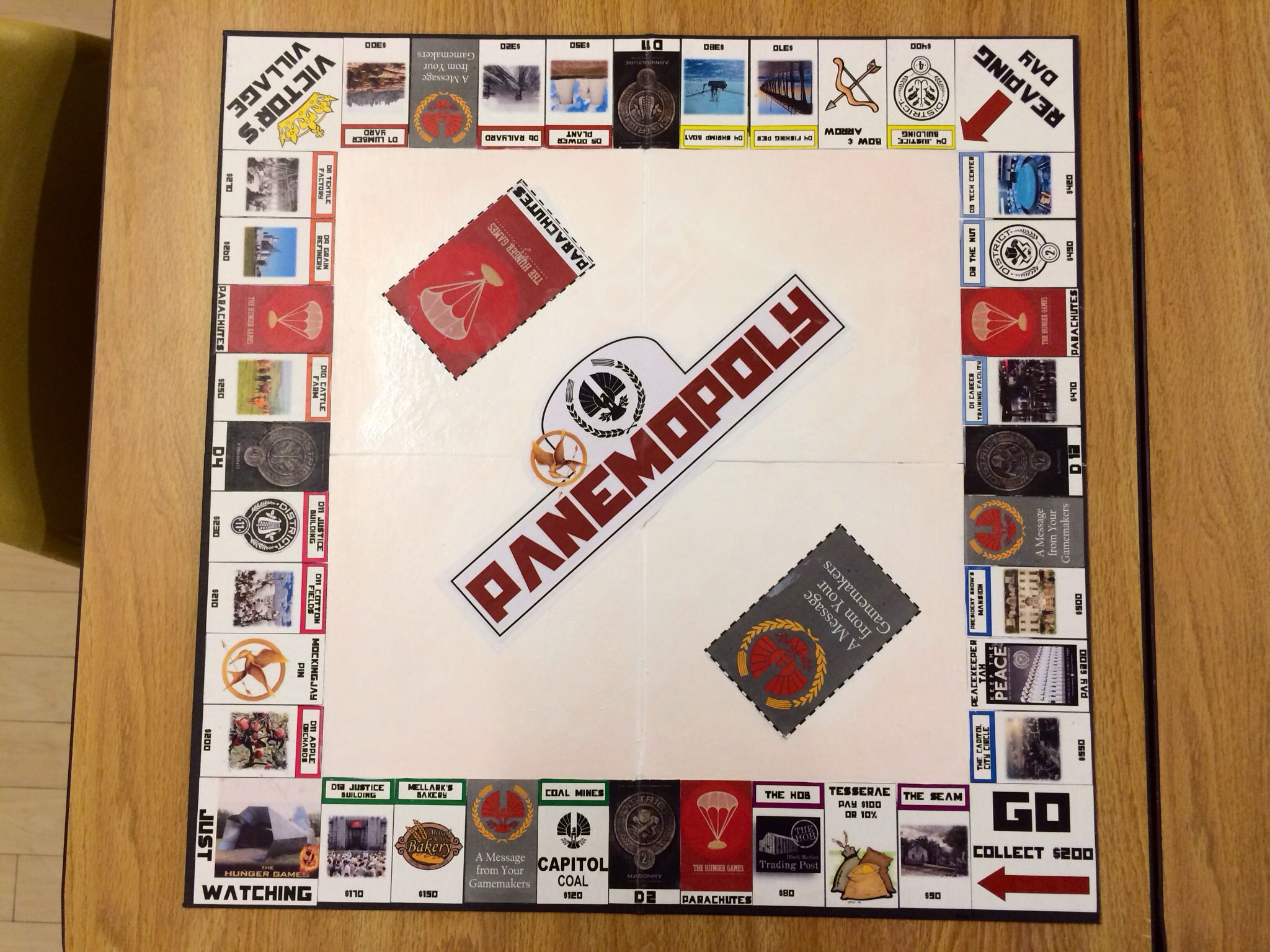 Panemopoly!! Monopoly with a Hunger Games twist!! Board is