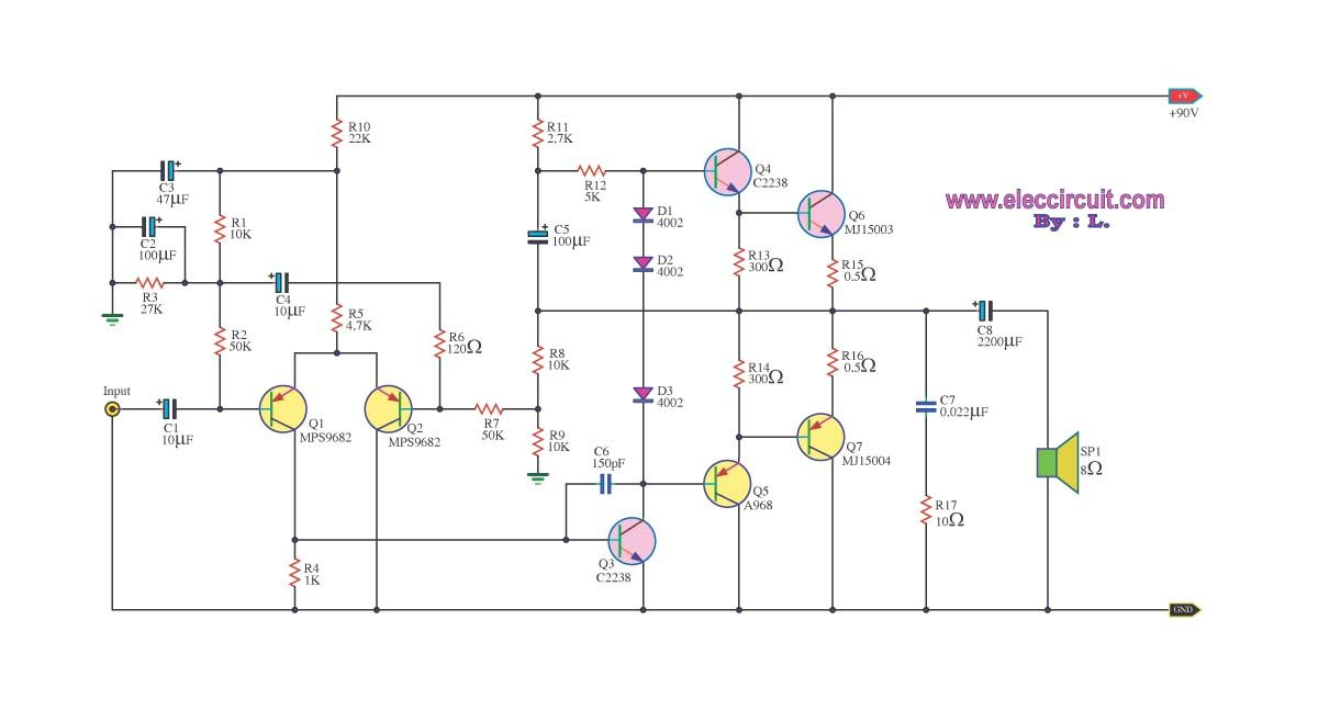 This Is 100 Watts Otl Amplifier Circuit Using Transistor For Small Pa System In The Village The Sound Is Very Power Supply Circuit Power Amplifiers Amplifier