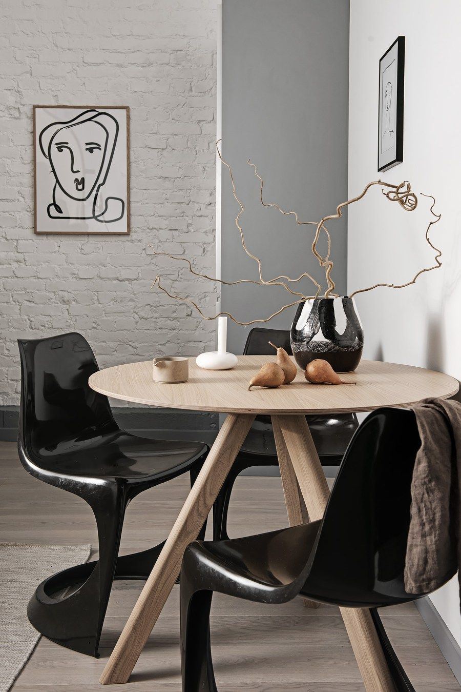 I wish I lived here: New York style loft with Crittall style windows - monochrome dining space, wooden table