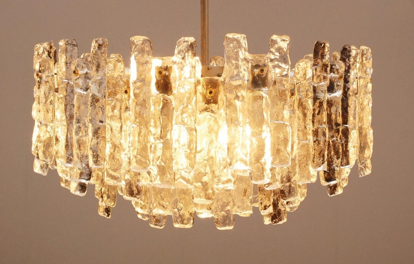 Ice Glass Chandelier From Kalmar For Sale At Pamono Glass Chandelier Hanging Lamp Chandelier