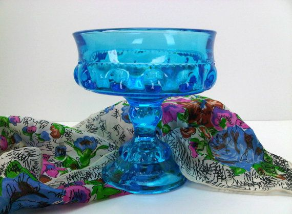 Vintage Blue Indiana Glass Kings Crown Thumbprint Footed Bowl  Compote  Candy Dish Nut Dish Centerpiece FREE SHIPPING