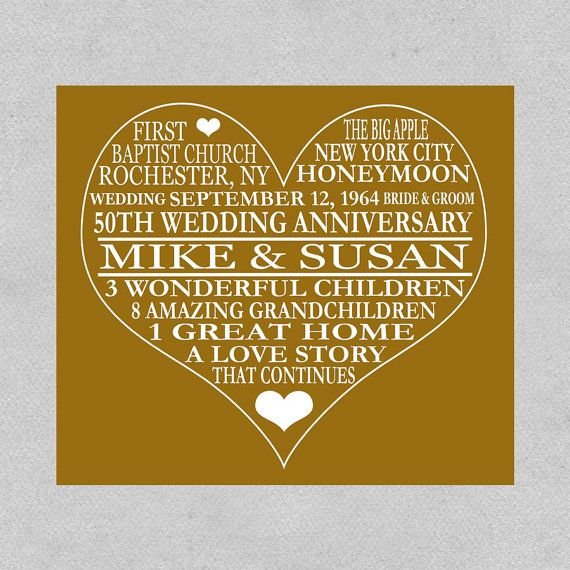 Gifts For Grandparents 50th Wedding Anniversary: 50th Anniversary Print