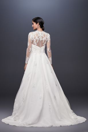 d5f506eda7f Long Tulle Jacket with Floral Lace Applique Style OW2115