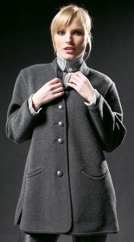 3f0003d494 Geiger of Austria Classic 65220 50 Charcoal Woman`s Boiled Wool Jacket.  Classic Walk