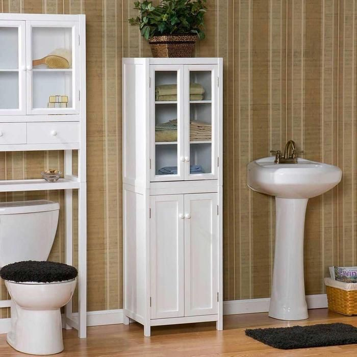 Bathroom Tall Cabinets With Gl Also A Sink And Closet Are Suitable Design Earance Storage Espresso