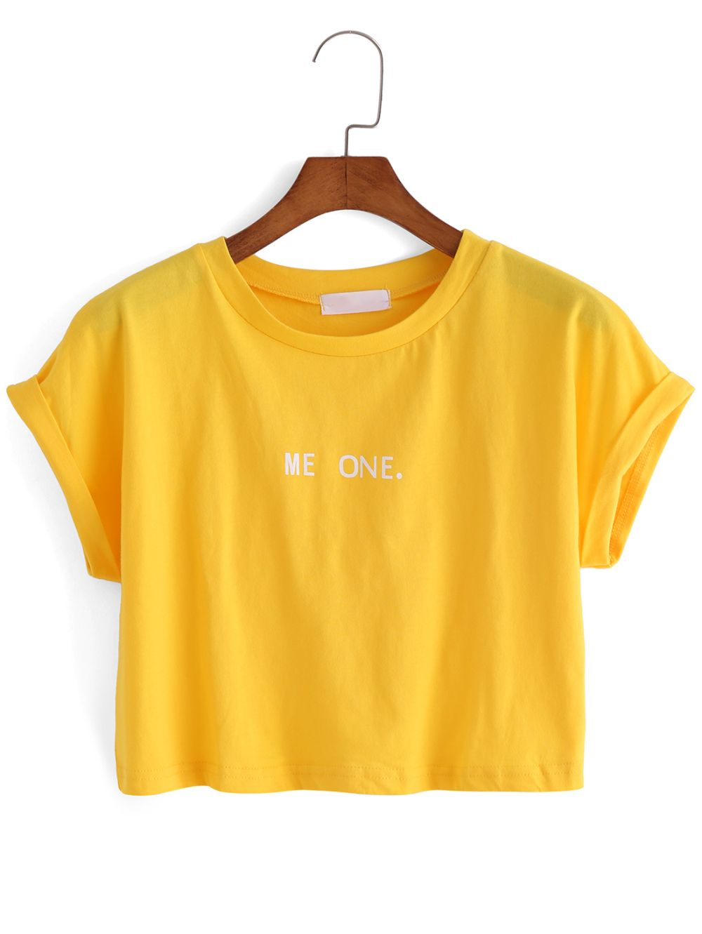 948ec3ce35 Shop Letter Print Crop Yellow T-shirt online. SheIn offers Letter Print Crop  Yellow T-shirt & more to fit your fashionable needs.