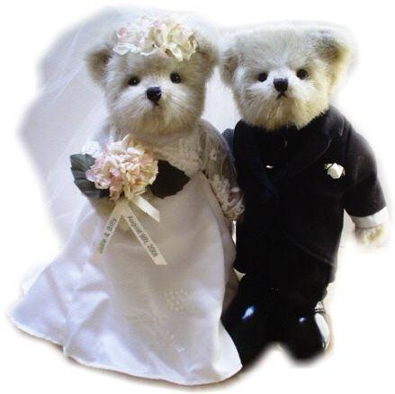 Wedding Teddy Bears, Bride and Groom Bears
