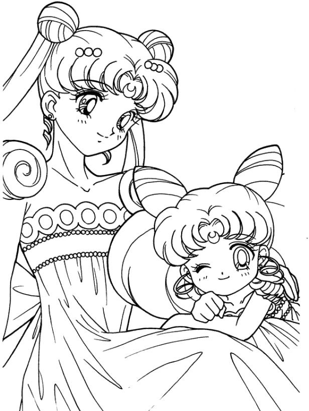 Sailor moon with the cute little kid coloring pages - Coloriage sailor moon ...