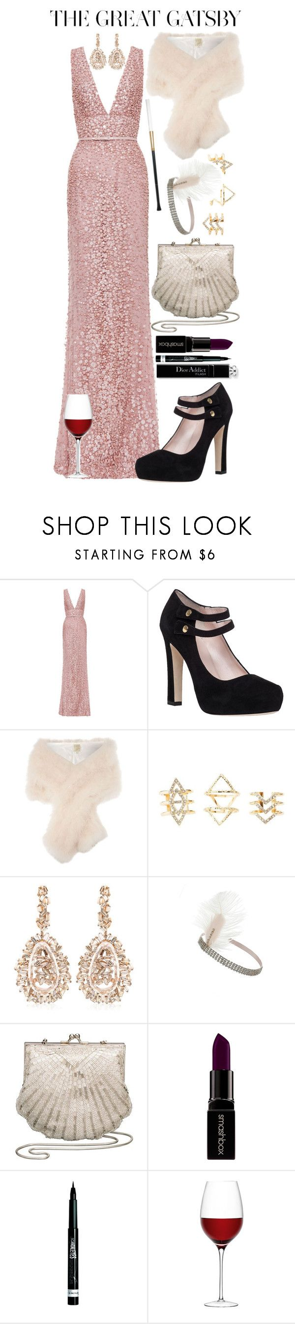 """Our prom theme is The Great Gatsby"" by ockey-33 ❤ liked on Polyvore featuring Elie Saab, Kate Spade, Biba, Charlotte Russe, Suzanne Kalan, Miss Selfridge, John Lewis, Smashbox, Rimmel and LSA International"