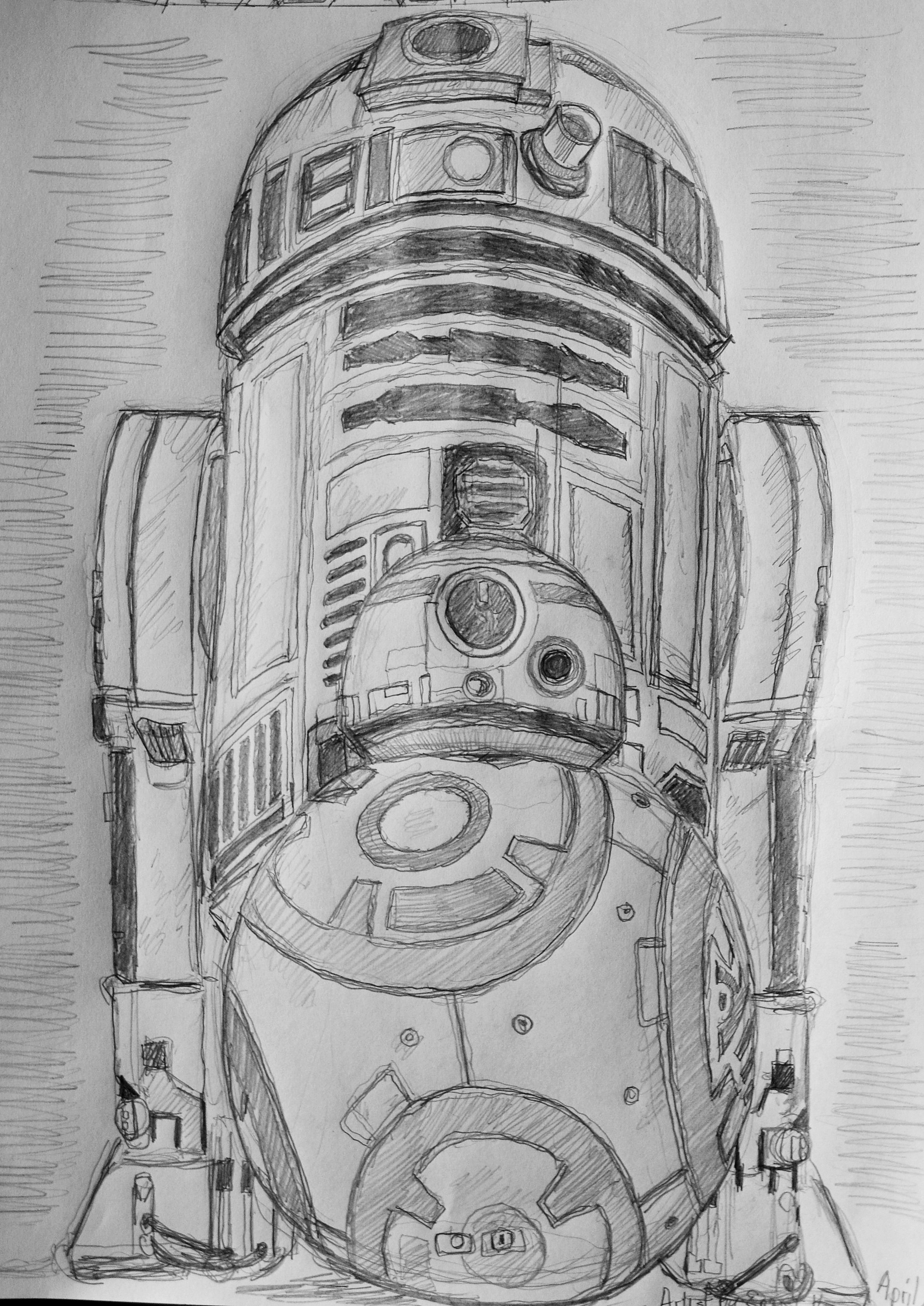 Here I drew a picture of the new STAR WARS The Force Awakens '' with R2D2 and B.B-8 ROBOT'' Artist by Ernst Kettler or Ernie Kettler '' from Strathroy Ontario, Canada .