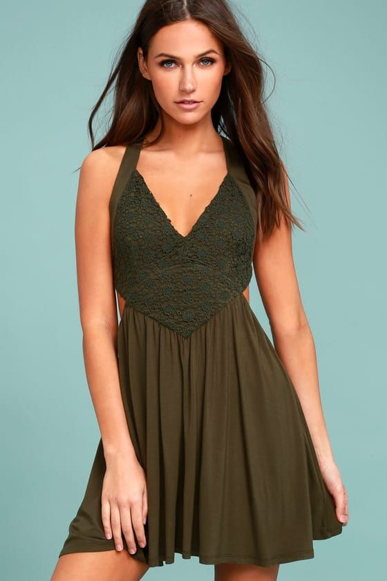 212f637ead3 Cute Olive Green Dress - Skater Dress - Lace Dress - Backless Dress
