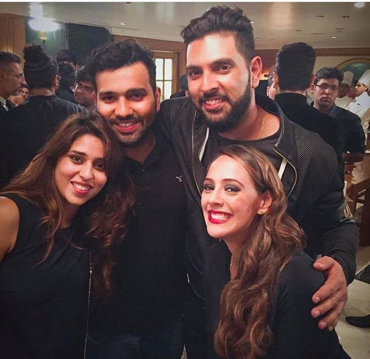 Rohit Sharma and Ritika Yuvraj Singh and Hazel Keech during the ...