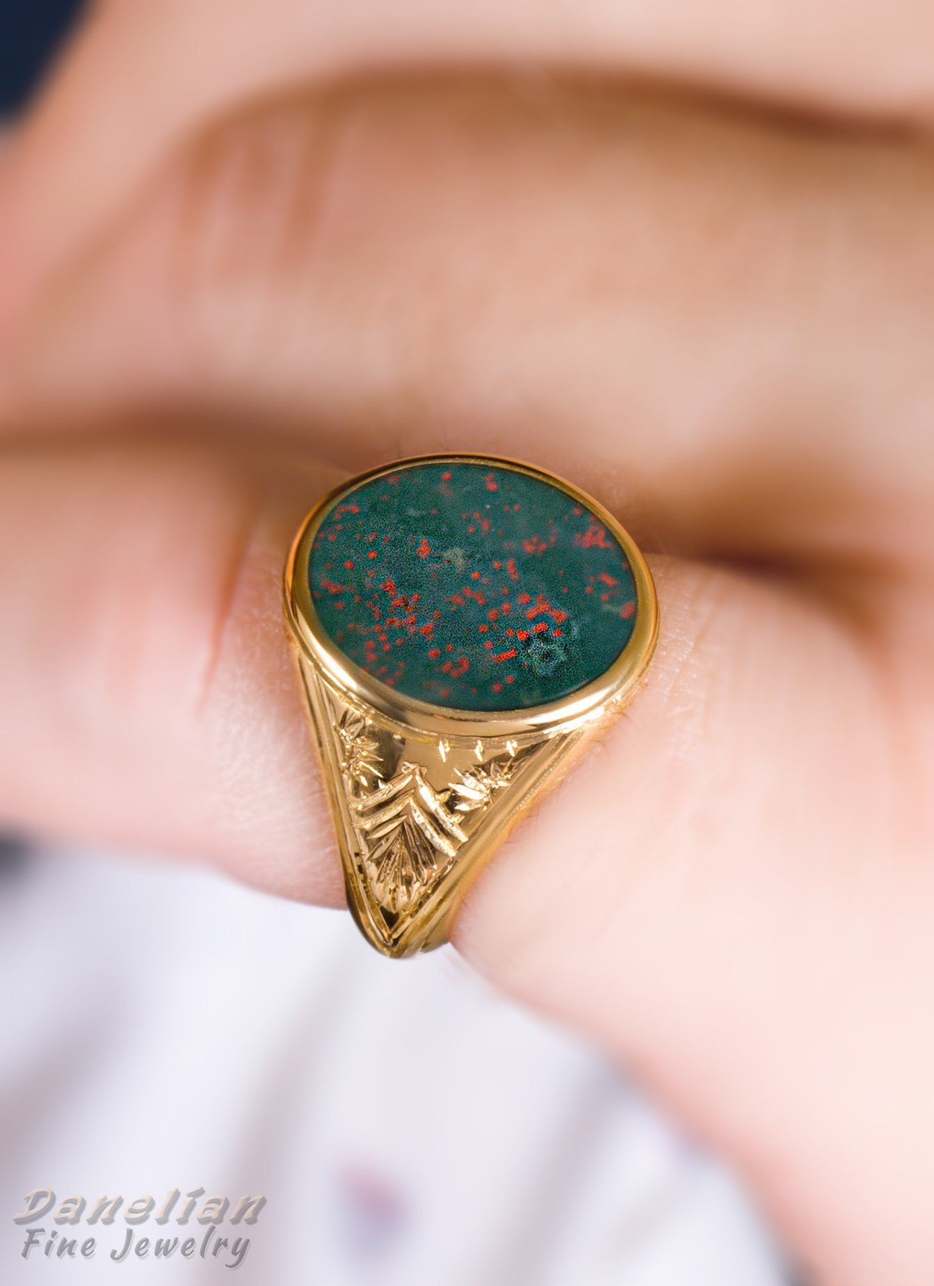 Bloodstone Signet Ring / Men Solid Gold Signet made in any