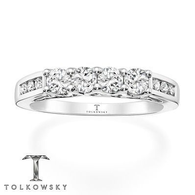Tolkowsky Wedding Band 3 4 Ct Tw Diamonds 14k White Gold