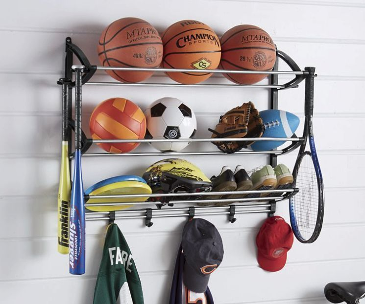 Sports Equipment Storage Rack Garage Organizer Station Gear Shelving Ball Bag Garage Decor Sports Equipment Storage Sports Equipment Organization