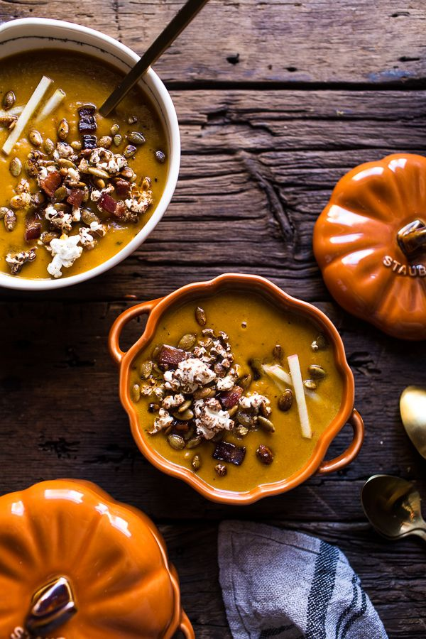 Smoky Pumpkin Beer and Cheddar Potato Soup with Candied Bacon Popcorn   halfbakedharvest.com @hbharvest