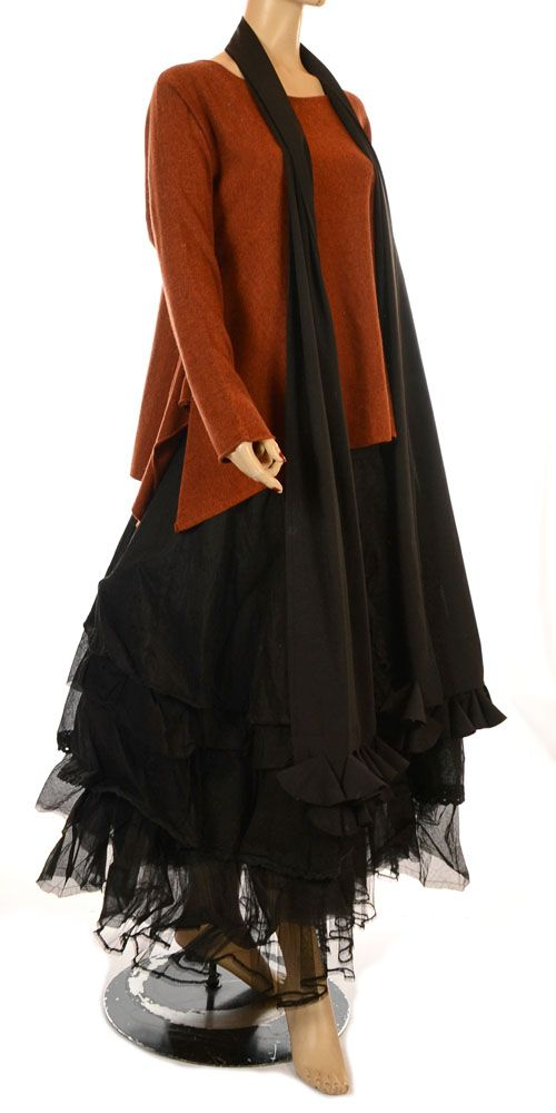 0472b3e38c3  layers  layered tulle skirt with long scoop neck sweater and long scarf  Ana Nonza