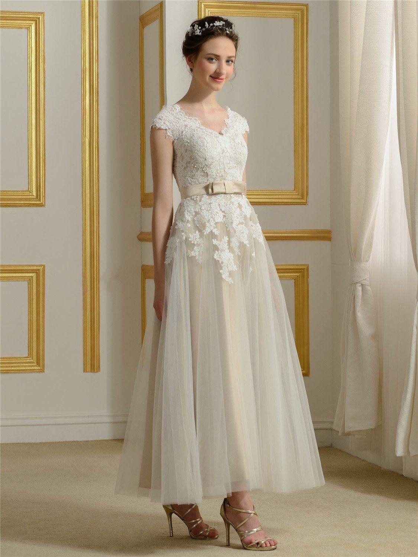 Bridess womens lace cap sleeve wedding dress tea length