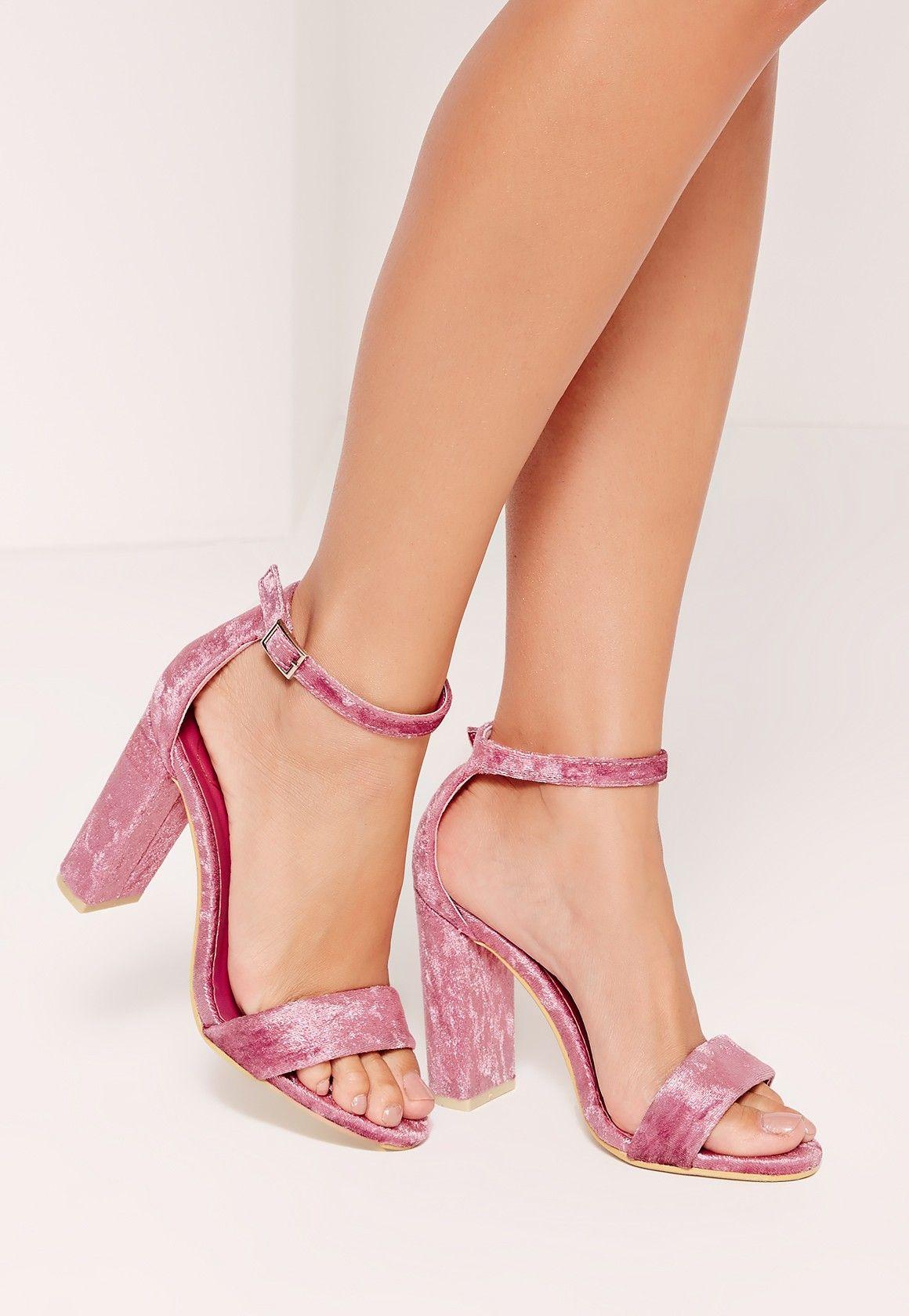 Missguided - Crushed Velvet Block Heeled Sandals Pink
