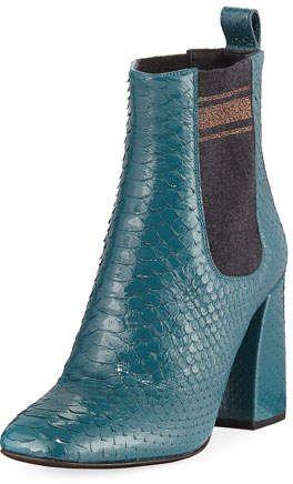 7399ce08b0c1 Brunello Cucinelli Block-Heel Python Sock-Gore Ankle Booties ...