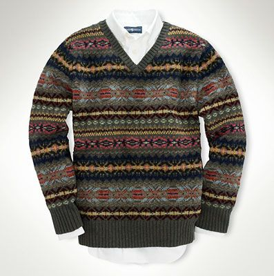 Ralph Lauren boys Fair Isle v-neck sweater | fairisle | Pinterest ...
